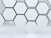 3D blank abstract hexagon box display Stock Images