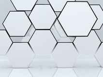3D blank abstract hexagon box display. New design aluminum frame template for design work, on white background Royalty Free Stock Image