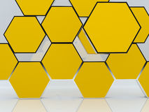 3D blank abstract yellow hexagon box display. New design aluminum frame template for design work, on white background Royalty Free Stock Photo