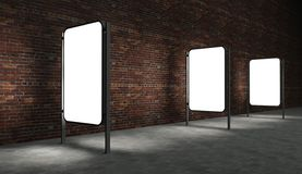 3d Blank advertising billboard on brick wall. 3d Blank street advertising billboard on brick wall at night Stock Image