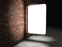 3d Blank advertising billboard on brick wall Royalty Free Stock Photography