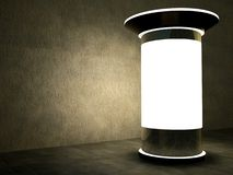 3d blank advertising column at night. 3d blank street advertising column at night Royalty Free Stock Photography