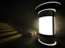 3d blank advertising column at night. 3d blank street advertising column at night Stock Images