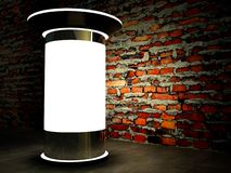 3d blank advertising column on wall at night. 3d blank street advertising column on brick wall at night Stock Image