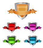 3D Blank Award Shields. Set of 5 3D Blank Award Shields Royalty Free Stock Photography