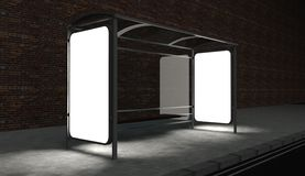 3d Blank billboard on bus stop at night. With copy space Royalty Free Stock Photos