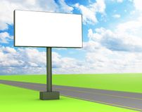 3d blank billboard on the street. 3d blank billboard on the green street Stock Images