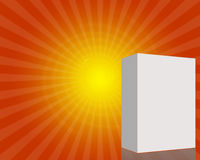 3d Blank box in starburst. 3d Blank box in orange starburst background with copyspace Stock Photos
