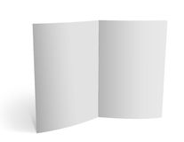 3d blank brochure spread pages. Empty double spread pages, over white background with shadows Royalty Free Stock Photo