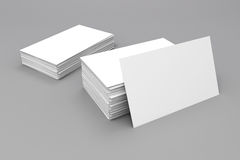 3d blank business cards. On white background Royalty Free Stock Photos