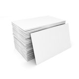 3d blank business cards. On white background Stock Photos