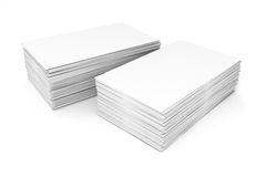 3d blank business cards. On white background Stock Photo