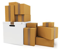 3d blank carton boxes. On white background Royalty Free Stock Images