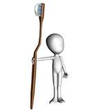 3D Blank Man Holding Toothbrush Stock Image