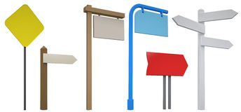3D Blank signpost collection. Isolated. Stock Photography