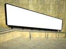 3d blank street advertising billboard, stairs Royalty Free Stock Photography