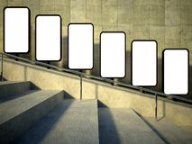 3d blank street advertising billboard, stairs. 3d blank street advertising billboard on stairs Royalty Free Stock Photo