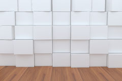 3D Blank White Box With Wood Floor For Backgrounds.  Royalty Free Stock Photography