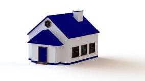 3d blauw huis Stock Foto's