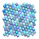 3d blauw purper abstract vloeibaar kubuspatroon Stock Foto