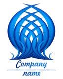 3D blauw veerembleem Stock Foto