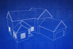 3D Blauwdruk van het Huis Royalty-vrije Stock Afbeeldingen