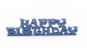3D Blauwe Gelukkige Verjaardag Royalty-vrije Stock Foto