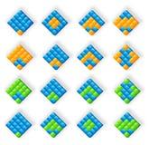 3D blauwe oranje groene emblemen Stock Foto