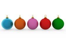 3d blauwe oranje rozerode groen van Kerstmisballen Royalty-vrije Stock Afbeelding