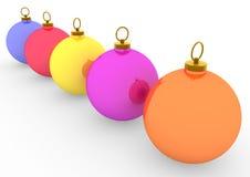 3d blauwe oranje rozerode groen van Kerstmisballen Stock Afbeelding