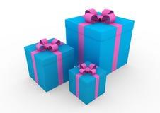 3d blauwe roze witte giftdoos Royalty-vrije Stock Foto's