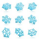 3D Blauwe Sneeuwvlokken Stock Foto