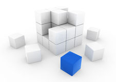 3d blauwe witte bedrijfskubus Stock Foto's