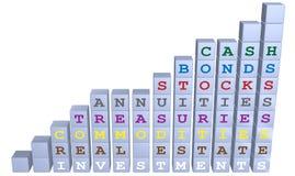 3d blockerar materiel för investering för bondsdiagramtillväxt Arkivfoton