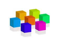 3D blocks. Illustration of 3D blocks with drop shadows Royalty Free Stock Photo