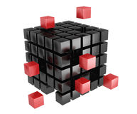 3d blocks red and black color. It is isolated on a white background Stock Photography