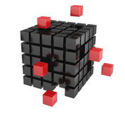 3d blocks red and black color. Stock Images