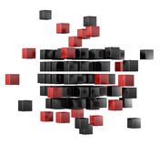 3d blocks red and black color. Royalty Free Stock Photo