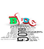 3d Blog concepts. Blog word cloud on white background Stock Photos
