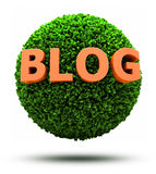 3D Blog on grassy ball stock illustration