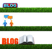 3D Blog headers. 3 in 1 3D blog headers for your project Stock Image
