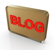 3d 'blog' text in red color. 3d render of reflective red blog 'text Royalty Free Stock Photography