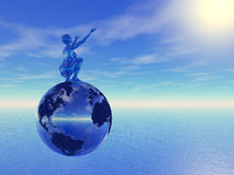 3D blue. Blue woman on chrome globe Royalty Free Stock Image