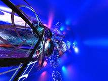 3D Blue Abstract Background. 3D bryce blue abstract background with metallic spheres Royalty Free Stock Photo