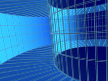 3d blue abstract tunnel. From a grid Stock Photography