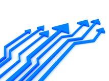 3d blue arrows competition. stock images