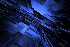 3D blue background. 3D perspective blue space available for background Royalty Free Stock Photos