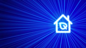 3D blue background with eco house icon. Blue shine of light. Blue background, 3D render Royalty Free Stock Photo