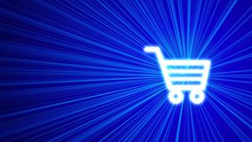 3D blue background with shopping cart icon. Blue shine of light. Blue background, 3D render Stock Photos