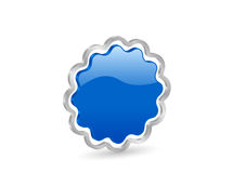 3D blue badge. Blue badge icon with metal contour, isolated on white background. Vector illustration Stock Images